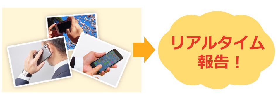 現場からの電話報告は基よりメールを使用して写真や動画の報告にも対応します。